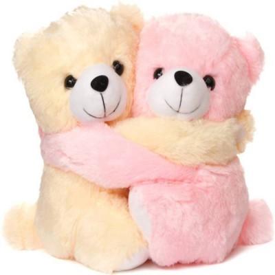 PreciousPearl Couple Teddy Bear - 24.6 cm(Pink, Beige), Beige;pink