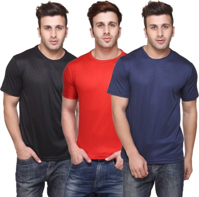 Funky Guys Solid Men Round or Crew Multicolor T-Shirt(Pack of 3) at flipkart