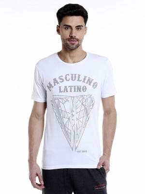 MASCULINO LATINO Printed Men Round Neck White T-Shirt