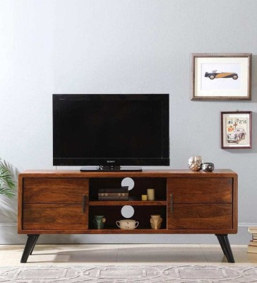 TimberTaste Saroj Sheesham Solid Wood TV Entertainment Unit(Finish Color - Walnut and Teak Draw)