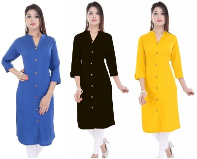 Blezza Casual Solid Women Kurti(Pack of 3, Blue, Black, Yellow)
