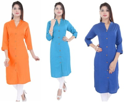 Blezza Casual Solid Women Kurti(Pack of 3, Yellow, Black, Red)