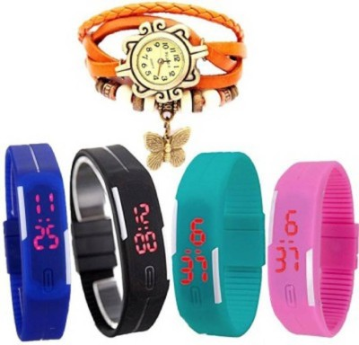 Talgo New Arrival Festive Season Special TGDORIORLEDBUBKSKBUPK Orange Round Dial Leather Dori Strap And Multicolour Digital Display LED Dial Slimmest Strap (Combo of 5) TGDORIORLEDBUBKSKBUPK Watch  - For Boys & Girls