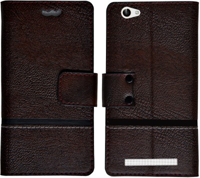 Mysha Flip Cover for Lava A97 ips, Lava A97 ips flip cover, Lava A97 ips mobile flip cover(Brown)