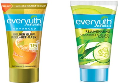 EVERYUTH NATURALS GOLDEN GLOW PEEL-OFF MASK FACE PACK 50 GM + REJUVENATING CUCUMBER & ALOE VERA FACE PACK 50 GM(50 g)