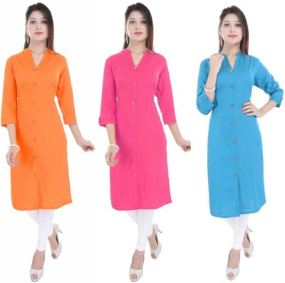 Blezza Casual Solid Women Kurti(Pack of 3, Orange, Pink, Light Blue)