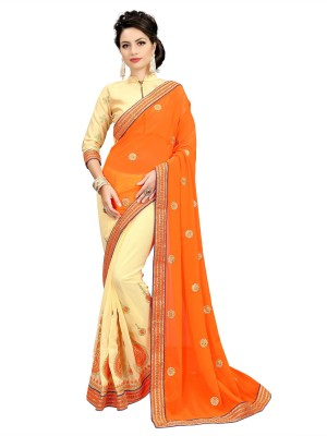 Fashions Bazaar Embroidered Bollywood Georgette Saree(Pack of 2, Multicolor)