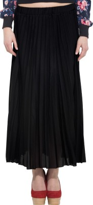 Go India Store Solid Women Pleated Black Skirt