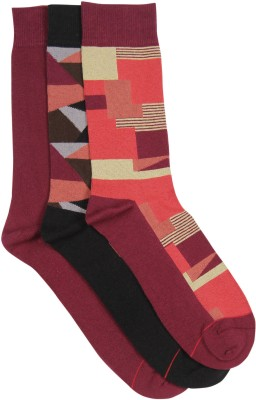 Soxytoes Men's Geometric Print Crew Length Socks(Pack of 3)