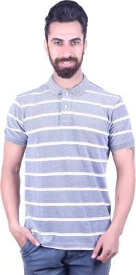 EMERA Striped Men's Polo Neck Grey, White T-Shirt
