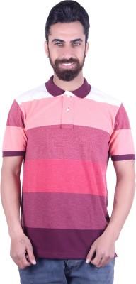 EMERA Striped Men's Polo Neck Maroon T-Shirt