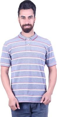 EMERA Striped Men's Polo Neck Grey, Maroon T-Shirt