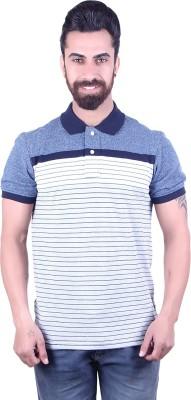 EMERA Striped Men's Polo Neck Blue T-Shirt