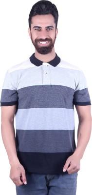EMERA Striped Men's Polo Neck Grey, Black T-Shirt