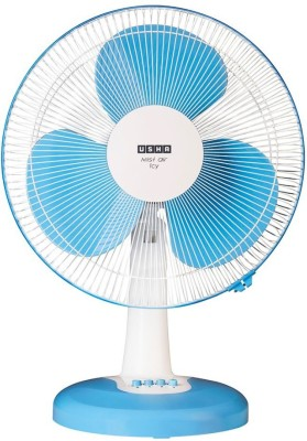 Usha Mist air icy 400 mm 3 Blade Table Fan(Blue, Pack of 1)