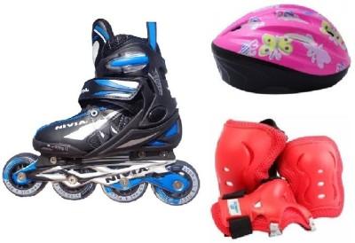 Nivia Combo of Three, One Pair of 'Super Inline' Skates (Senior Unisex) ,One Skating Kit and One Helmet (Size - Senior) Skating Kit