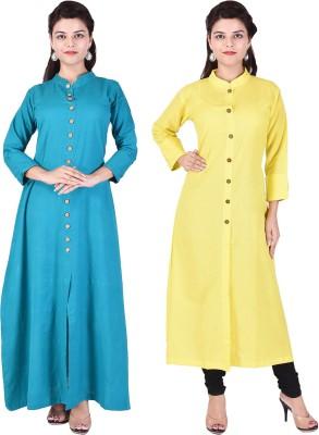 Desier Women Solid Gown Kurta(Green, Yellow)