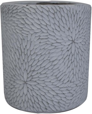 Scrafts Floral Round Big Plants Cement Vases for Home/living  Room/Party/Wedding/Office Decor LWH(cms)=13X13X16 Ceramic Vase(16 inch,  White)
