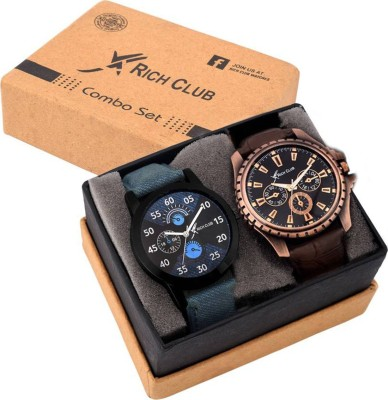 Rich Club Set Of Two Combo RC JEANS CORNO Analog Watch   For Boys   Girls Rich Club Wrist Watches