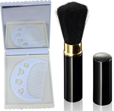 Oriflame Sweden Giordani Gold Black Powder Brush (28759) With Comb & Mirror Set(Set of 3)  available at flipkart for Rs.529