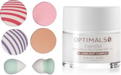 Oriflame Sweden Optimals Even Out Day Cream SPF 20 50ml (32479) With Puff Sponge(Set of 7)  available at flipkart for Rs.789