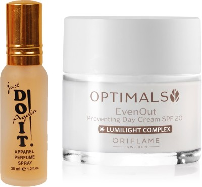 Oriflame Sweden Optimals Even Out Day Cream SPF 20 50ml (32479) With Just Doit Perfume 30ml(Set of 2)  available at flipkart for Rs.799