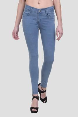 Crease   Clips Skinny Women Light Blue Jeans