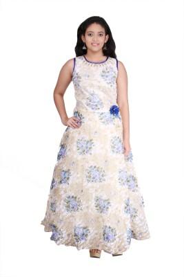 Saarah Girls Maxi/Full Length Party Dress(Blue, Sleeveless)