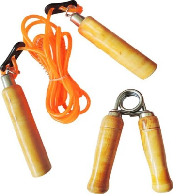 Monika Sports 1 skipping rope + 1 wooden hand grip for home & gym exercise Gym & Fitness Kit  available at flipkart for Rs.159