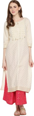 Rangmanch by Pantaloons Women Checkered Straight Kurta(White)
