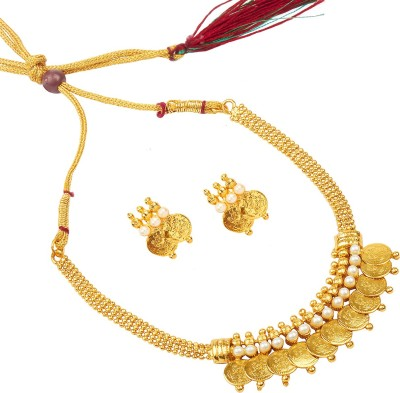 Shining Jewel 24K Lakshmi Coin Pearl Yellow Gold Plated Brass Necklace Set  available at flipkart for Rs.398