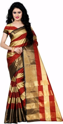 Trendz Style Striped, Embellished Fashion Tussar Silk Saree(Brown, Red)