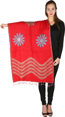 Kashmiri Handloom Shawl Cashmere Embroidered Women's Shawl(Maroon)
