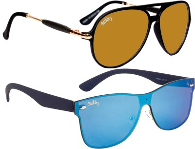 Backley Aviator, Wayfarer Sunglasses(Brown, Blue)