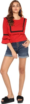 Heather Hues Casual Short Sleeve Solid Women Red Top Heather Hues Women's Tops