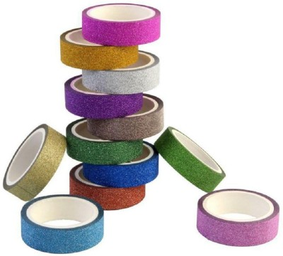 ACTC INDIA Craft Tapes Colorful Decorative Adhesive Glitter Tape Rolls, Length 3m Each, Set of 10 (Colors As Per Availability)  available at flipkart for Rs.199