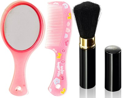Oriflame Sweden Giordani Gold Black Powder Brush (28759) With Mirror & Comb Set(Set of 3)  available at flipkart for Rs.529