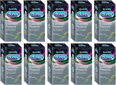 Durex Extended Pleasure | Climax Delay Long Last Intimacy | Discreet Packing Condom(Set of 10, 100S)