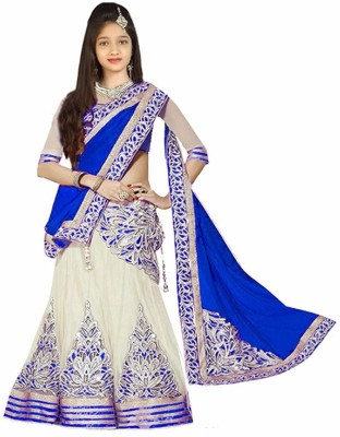 Fashion Duds Baby Girls Lehenga Choli Fusion Wear, Ethnic Wear, Party Wear Embroidered, Self Design, Solid Lehenga, Choli and Dupatta Set(Blue, Pack of 1)