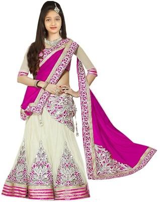 Fashion Duds Baby Girls Lehenga Choli Ethnic Wear, Party Wear Embroidered Lehenga, Choli and Dupatta Set(Pink, Pack of 1)