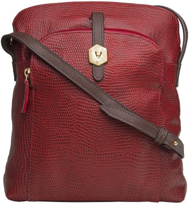 Hidesign Women Red, Brown Genuine Leather Sling Bag at flipkart