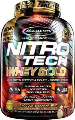 Muscletech Performance Series Nitrotech 100% Whey Gold Whey Protein(2.5 kg, Chocolate Banana Split)