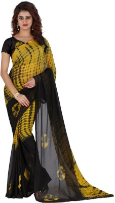 Wama Fashion Printed Daily Wear Faux Georgette Saree(Black, Yellow) Flipkart