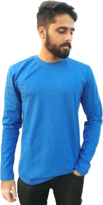 Redfool Fashions Solid Men's Round Neck Blue T-Shirt