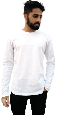 Redfool Fashions Solid Men's Round Neck White T-Shirt
