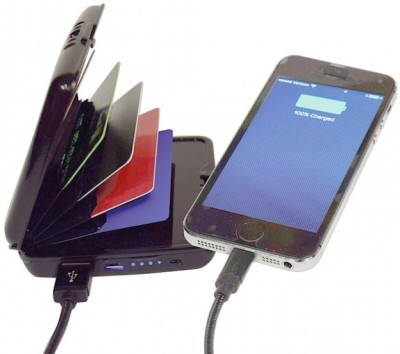 VibeX ™ Wallet Anti Lost Anti Theft Bluetooth IOS Andriod 5000mah Power Bank 2-USB Charge Port eCharge Wallet™-Type-015 USB Charger(Black)  available at flipkart for Rs.999