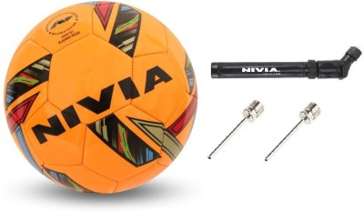 Nivia Combo of Three, One 'Revolvo' Football One Pump and Two Needle Football - Size: 5(Pack of 1, Orange)  available at flipkart for Rs.895