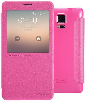 Nillkin Flip Cover for Samsung Galaxy Note 4 SM-N910G N910 SM-N910C(Pink, Artificial Leather)
