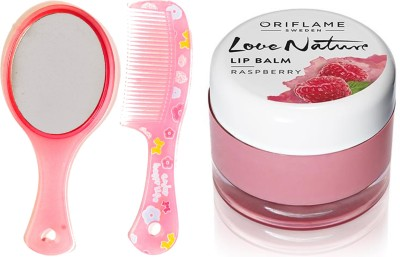 Oriflame Sweden Love Nature Lip Balm - Raspberry 7g (31077) With Mirror Comb Set(Set of 3)  available at flipkart for Rs.343