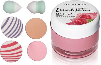 Oriflame Sweden Love Nature Lip Balm - Raspberry 7g (31077) With Puff Sponge(Set of 7)  available at flipkart for Rs.343